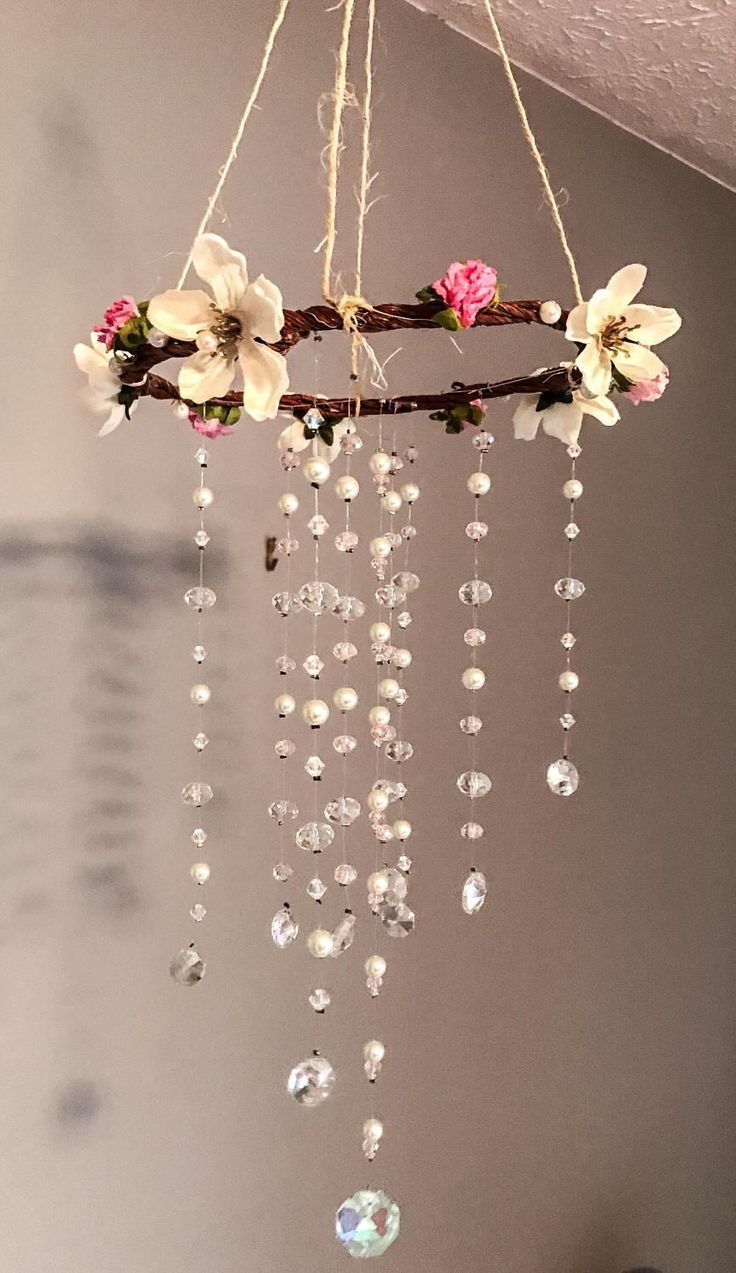 Photo of Pink & White Shabby Chic Crystal Mobile