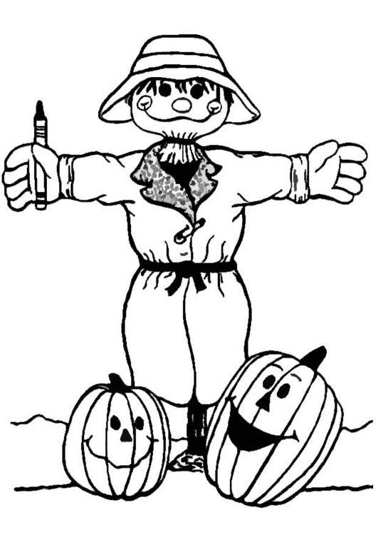 Dibujo Para Colorear Espantapajaros Halloween Para Colorear Espantapajaros Paginas Para Colorear
