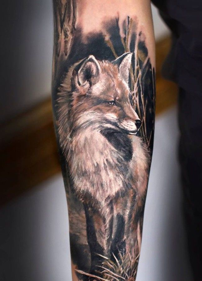Greatrealisticblack And Whitefoxtattooon 64901 Half Sleeve Tattoo Fox Tattoo Design Animal Tattoos