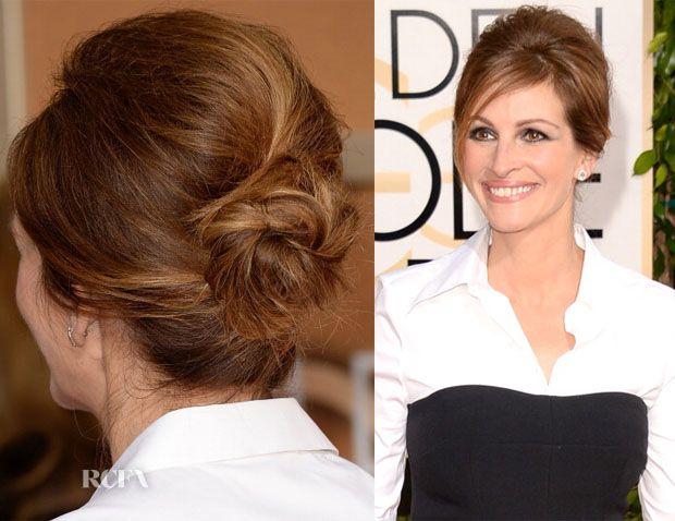 Get The Look Julia Roberts 2014 Golden Globes 60s Updo Toupierte Haare Schicke Haarschnitt Und Hubsche Frisuren