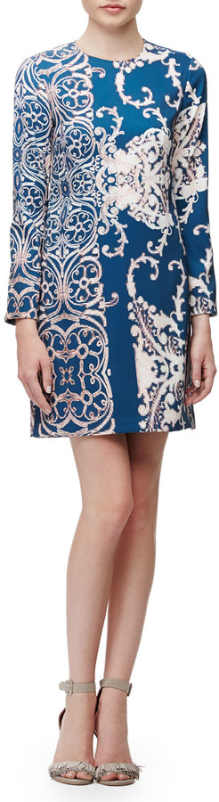 Long sleeve paisley print dress