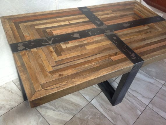 Salvaged Butcher Block Coffee Table Industrial Rustic On Etsy