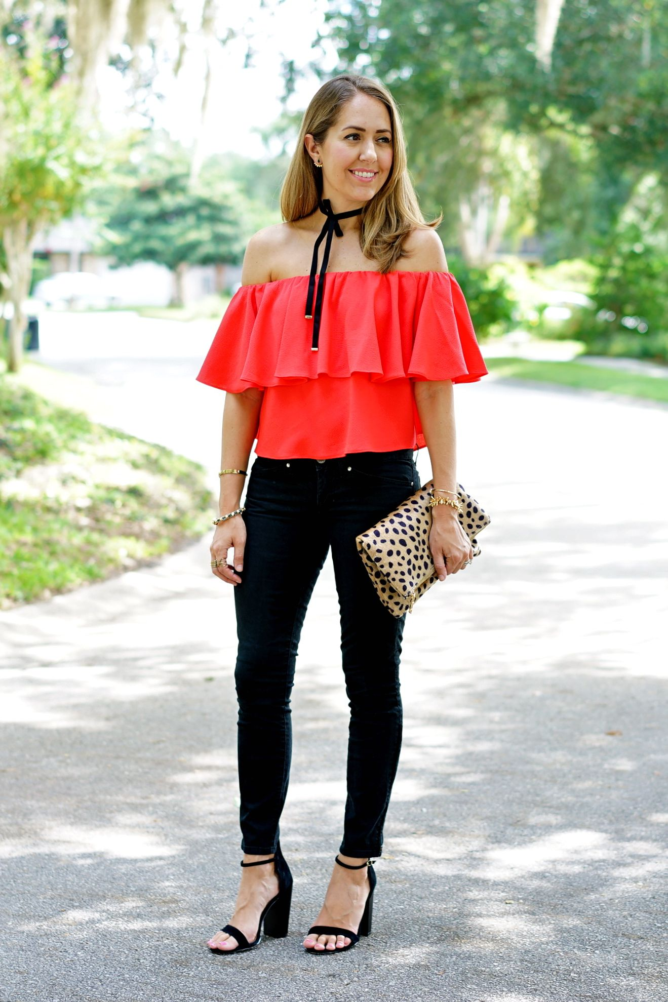 Red top, black jeans, leopard clutch | J's Everyday Fashion Blog ...