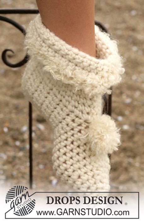 DROPS Crochet slippers in Eskimo ~ DROPS Design | crochet ...