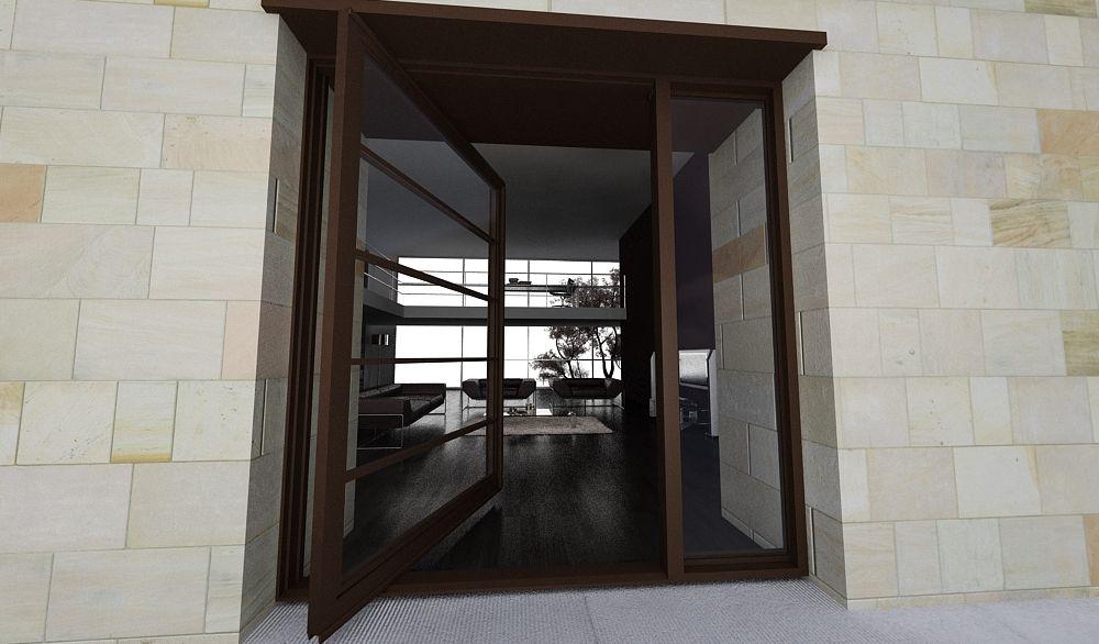 The Segmented Modern Pivot Door Design With Glass Segments