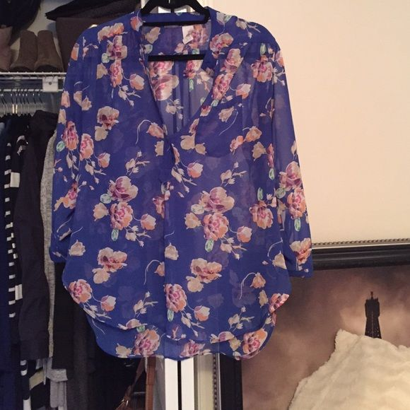 Sheer Floral Tunic Purchased from local bouquet. Sheer floral print. Size Large. 3/4 length sleeves. Tops Tunics