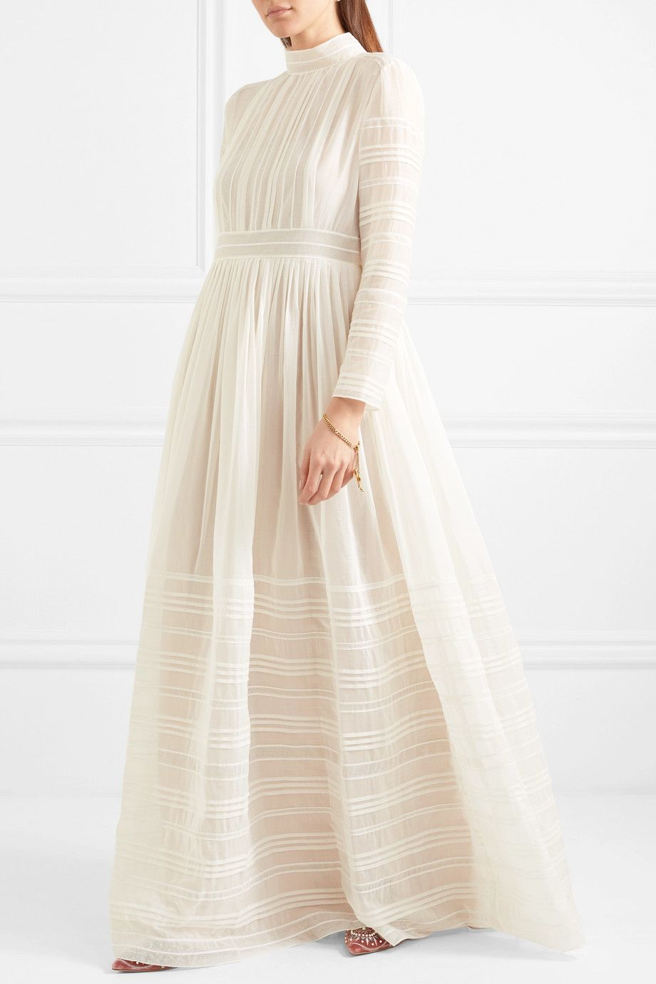 Tulle-trimmed Pintucked Cotton And Silk-blend Voile Gown - Ivory Valentino Discount Latest 2018 For Sale 9Jq8PA