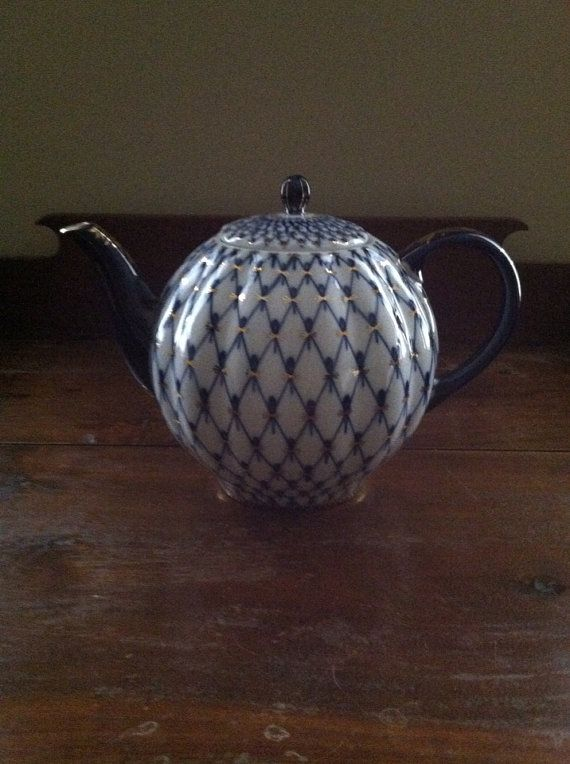 Exquisite Lomonosov Cobalt Net Tea Pot ten by TheSunshineToker, $265.00