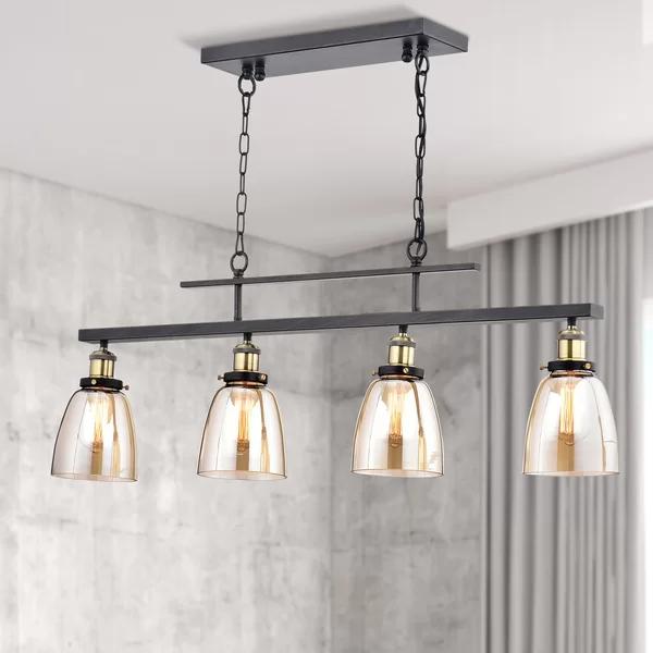 Felecia 4 Light Kitchen Island Linear Pendant Kitchen Lighting Vintage Light Bulbs Linear Lighting