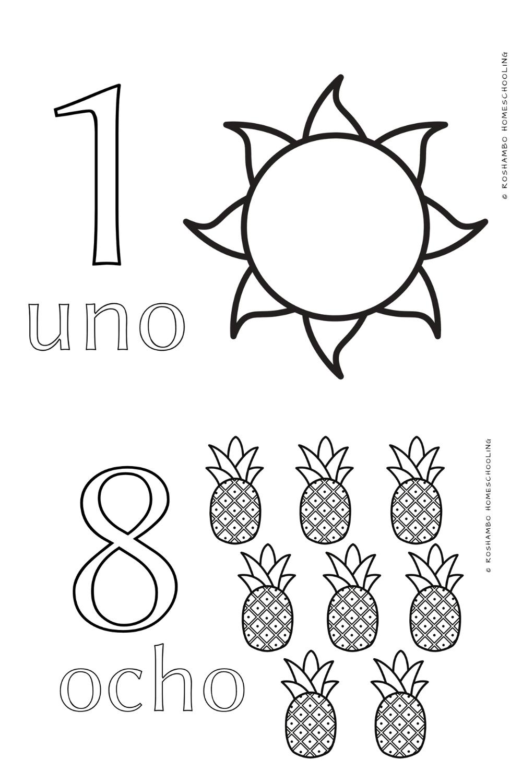 Free Spanish Coloring Sheets Homeschool Elementary Fun Math Activities Spanish Curriculum [ 1500 x 1000 Pixel ]