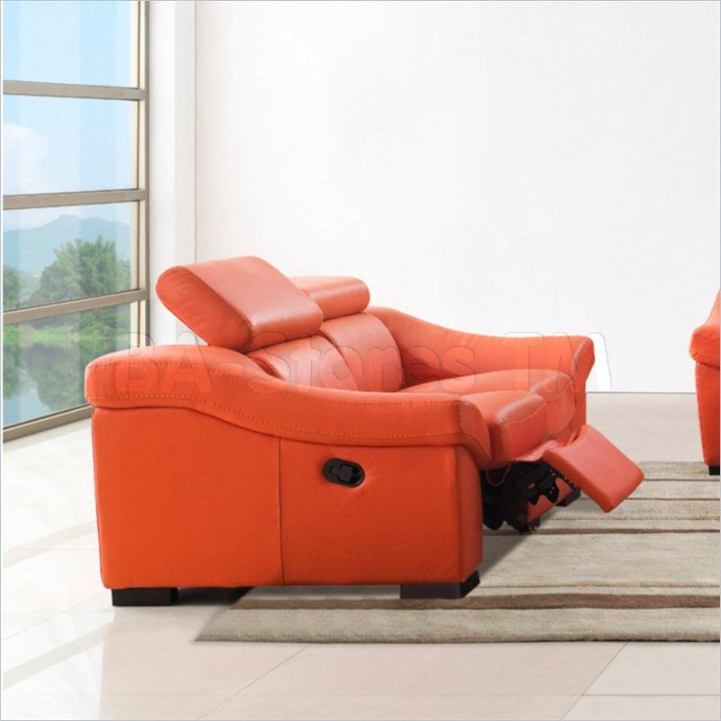 Astounding Esf Style Leather Reclining Loveseat In Orange 80212 Machost Co Dining Chair Design Ideas Machostcouk
