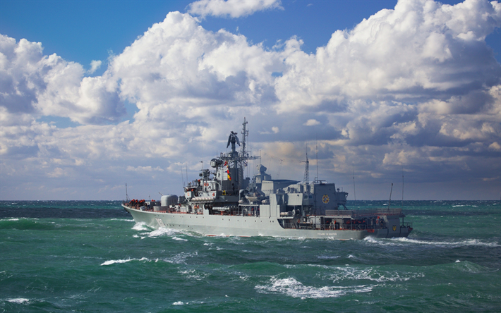 Lataa kuva Getman Sagaidachny, fregatti, sotalaivoja, musta meri, Ukrainan Navy
