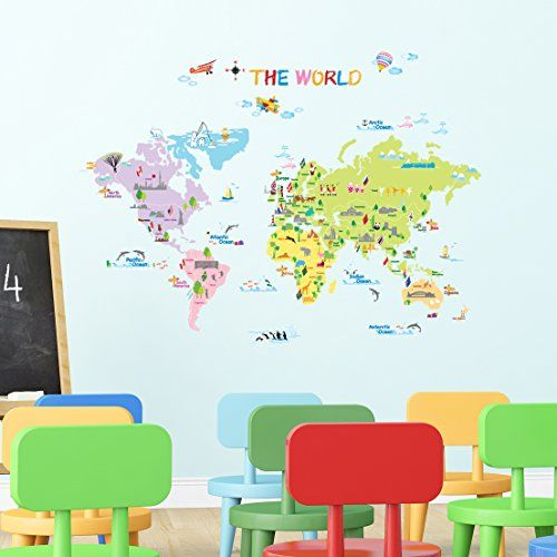 Dw 1203 multicoloured world map wall stickerskids wall decalswall dw 1203 multicoloured world map wall stickerskids wall decalswall transfers gumiabroncs Choice Image