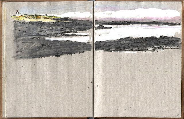 Albrecht Rissler, Coastline, Ile de Groix, Bretagne, France. 1992. Ball pen, gouache.Interesting is the placement of the drawing in the format (drawn on top of the sketchbook while leaving the bottom half blank), which enhances the horizontality of the landscape. The colour scheme is basically black and white with minimal added colour to create depth and composition.