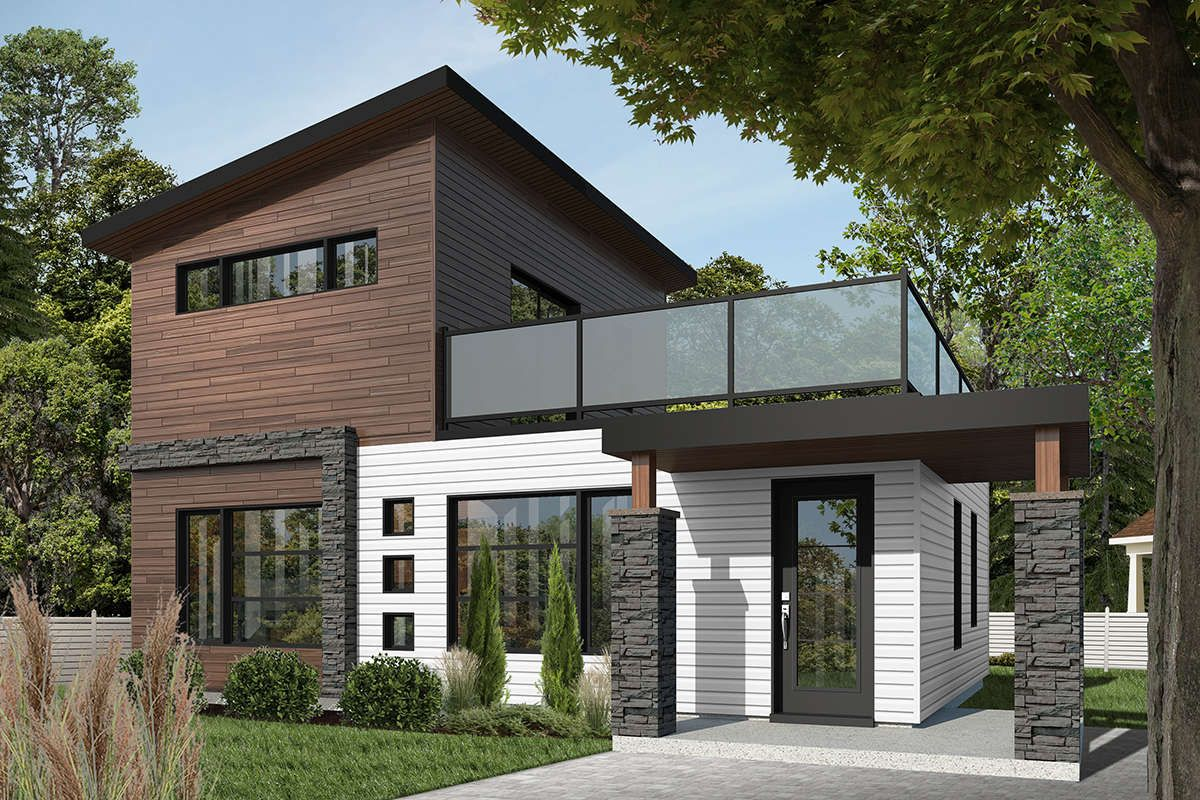 House Plan 034 01071 Modern Plan 924 Square Feet 2 Bedrooms 2 Bathrooms In 2020 Contemporary House Plans Modern Style House Plans Contemporary House Exterior