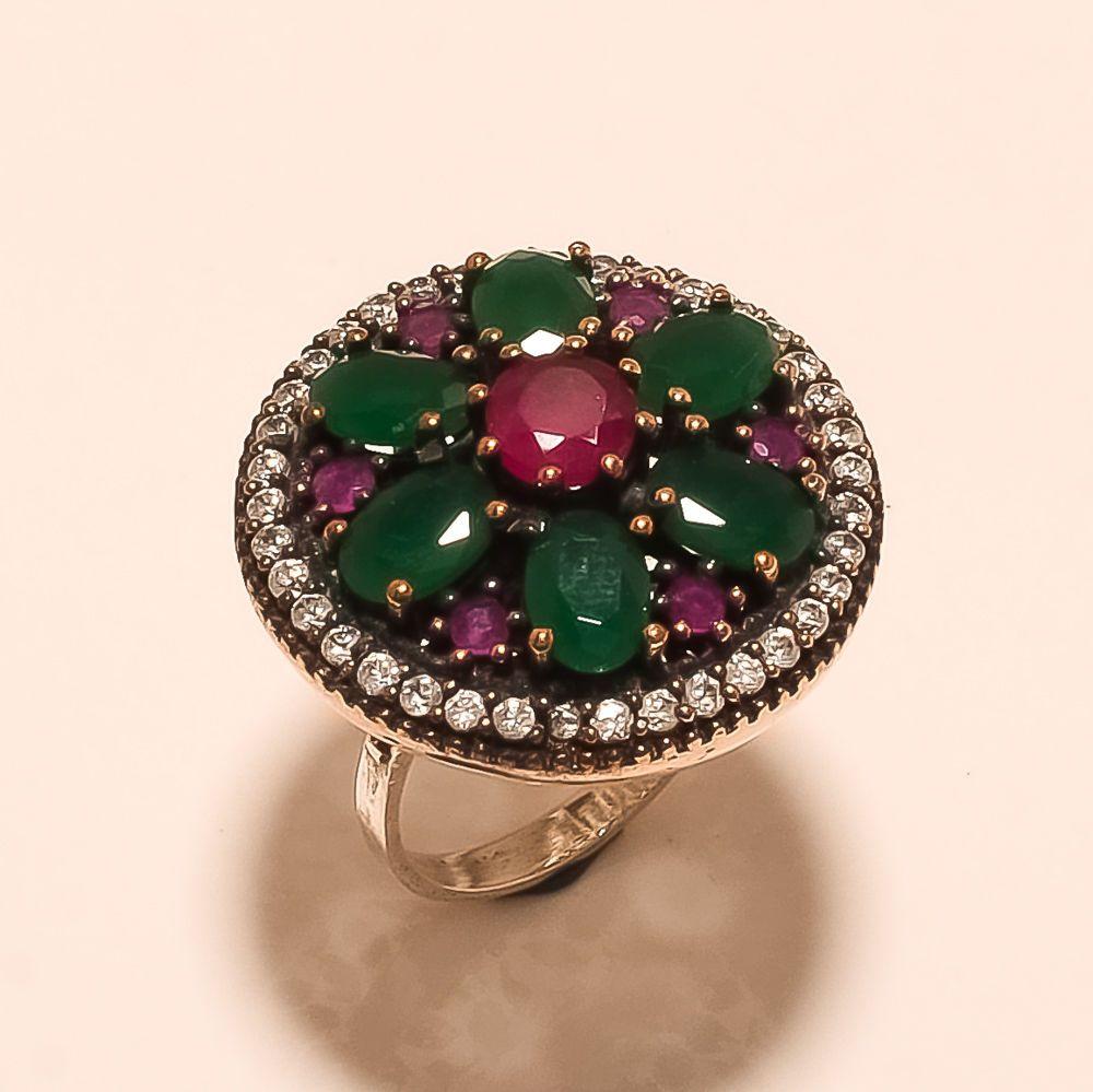 Tajikistan Ruby, Zambian Emerald Gemstones Sterling Silver Ring Turkish Jewelry #Handmade #ChristmasGift