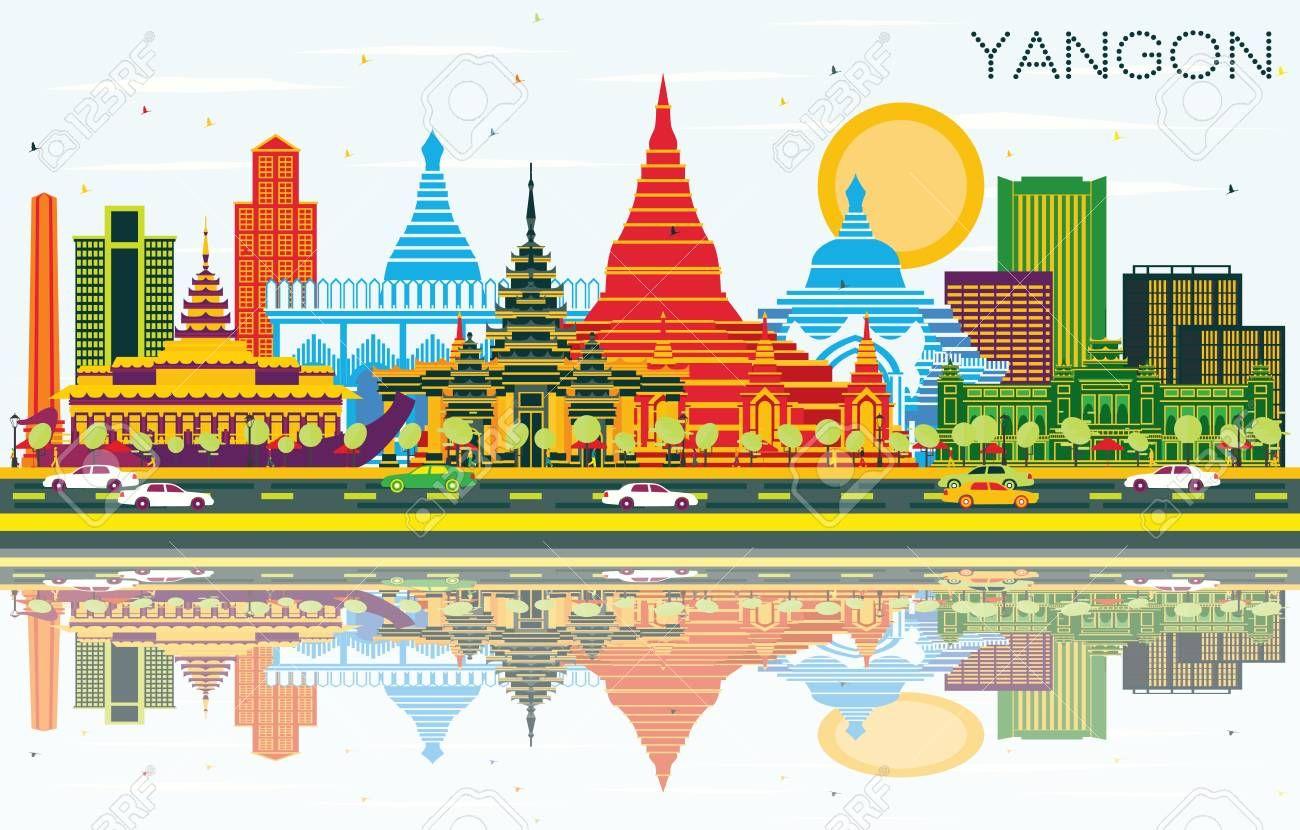 Yangon Myanmar City Skyline With Color Buildings Blue Sky And Reflections Vector Illustration Business Travel And Tourism Yangon Yangon Myanmar City Skyline