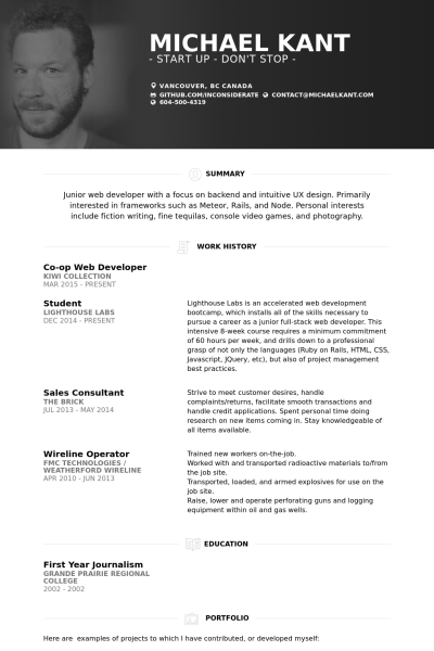 Junior Web Developer Resume Web Developer Resume Personal Resume Job Resume Examples