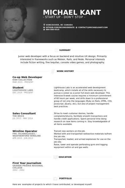 Junior Web Developer Resume Web Developer Resume Resume Personal Resume