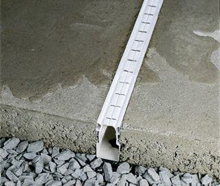 Concrete patio with french drain plastic drainage for Pool deck design tool