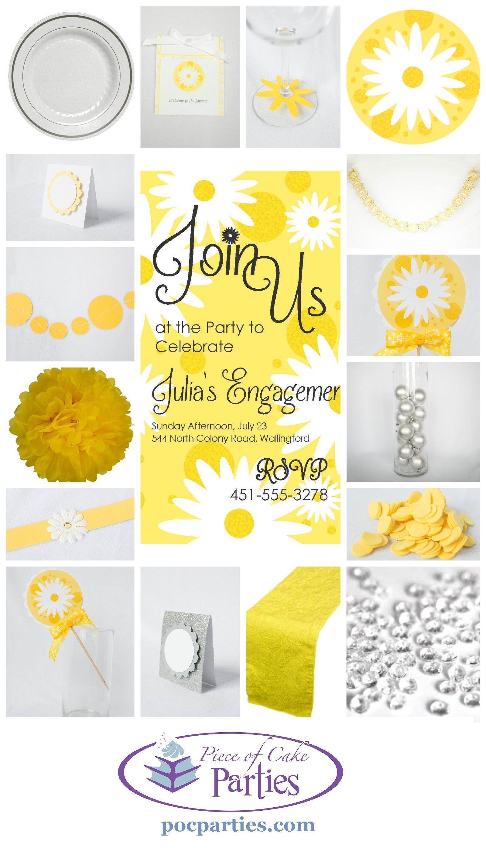 All things cute for a daisy bridal shower or baby shower.  By Piece of Cake Parties.  Charming.  Effortless.  Affordable.