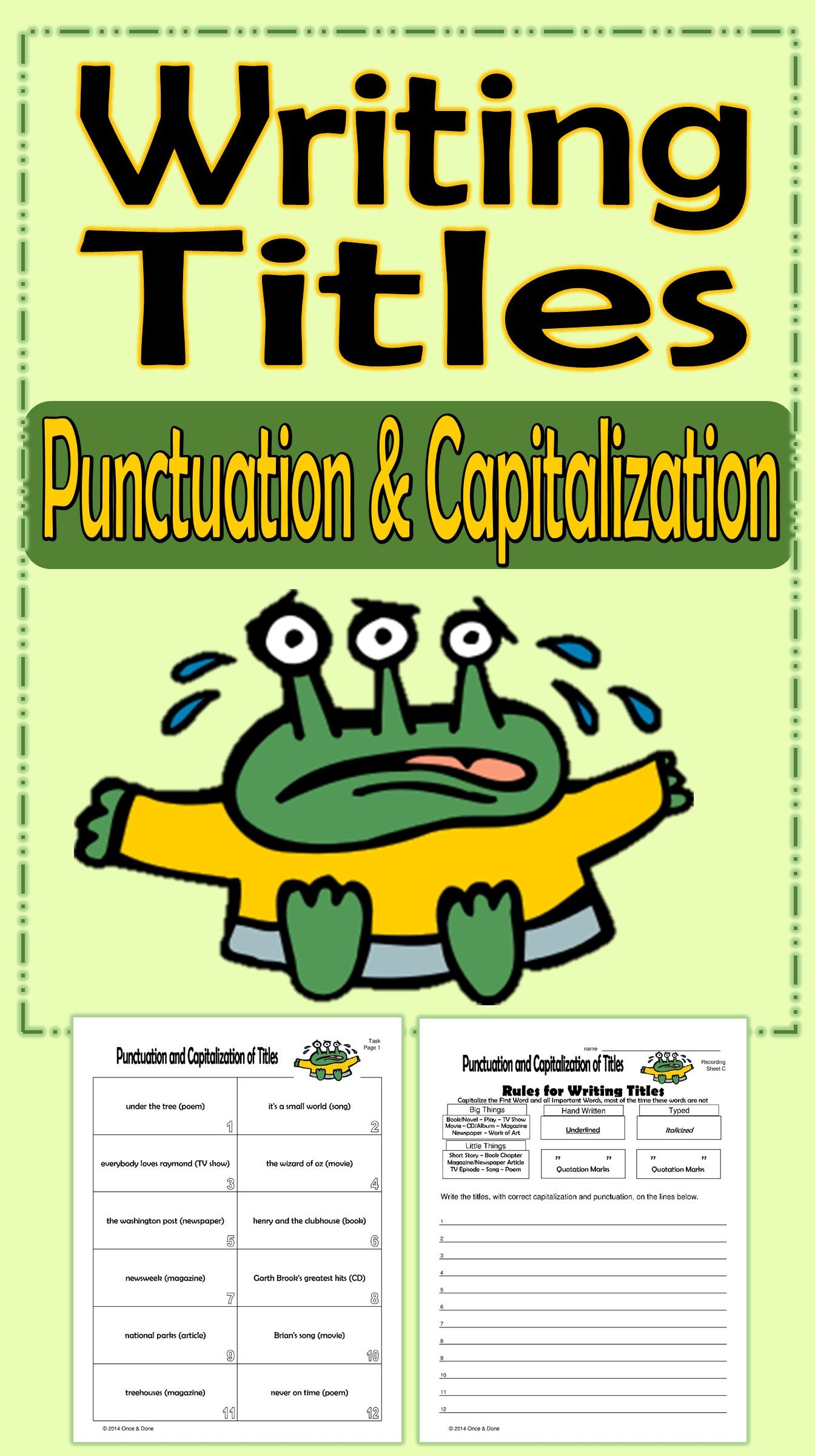 Rules Punctuating Titles Worksheets   Printable Worksheets and Activities  for Teachers [ 2400 x 1344 Pixel ]
