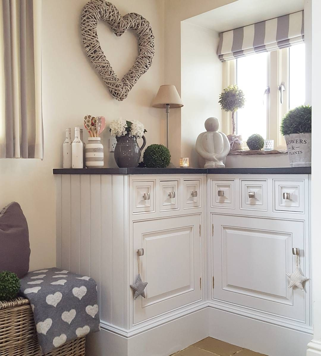 #kitchendecor #kitchencorner #countrystyle #ourhome #stripedblind #newcupboardcolour