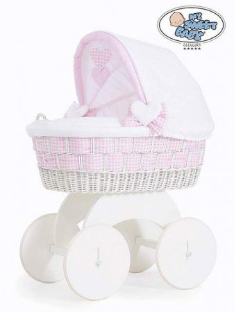 My Sweet Baby Alessandra White Wicker Crib Moses Basket Pink