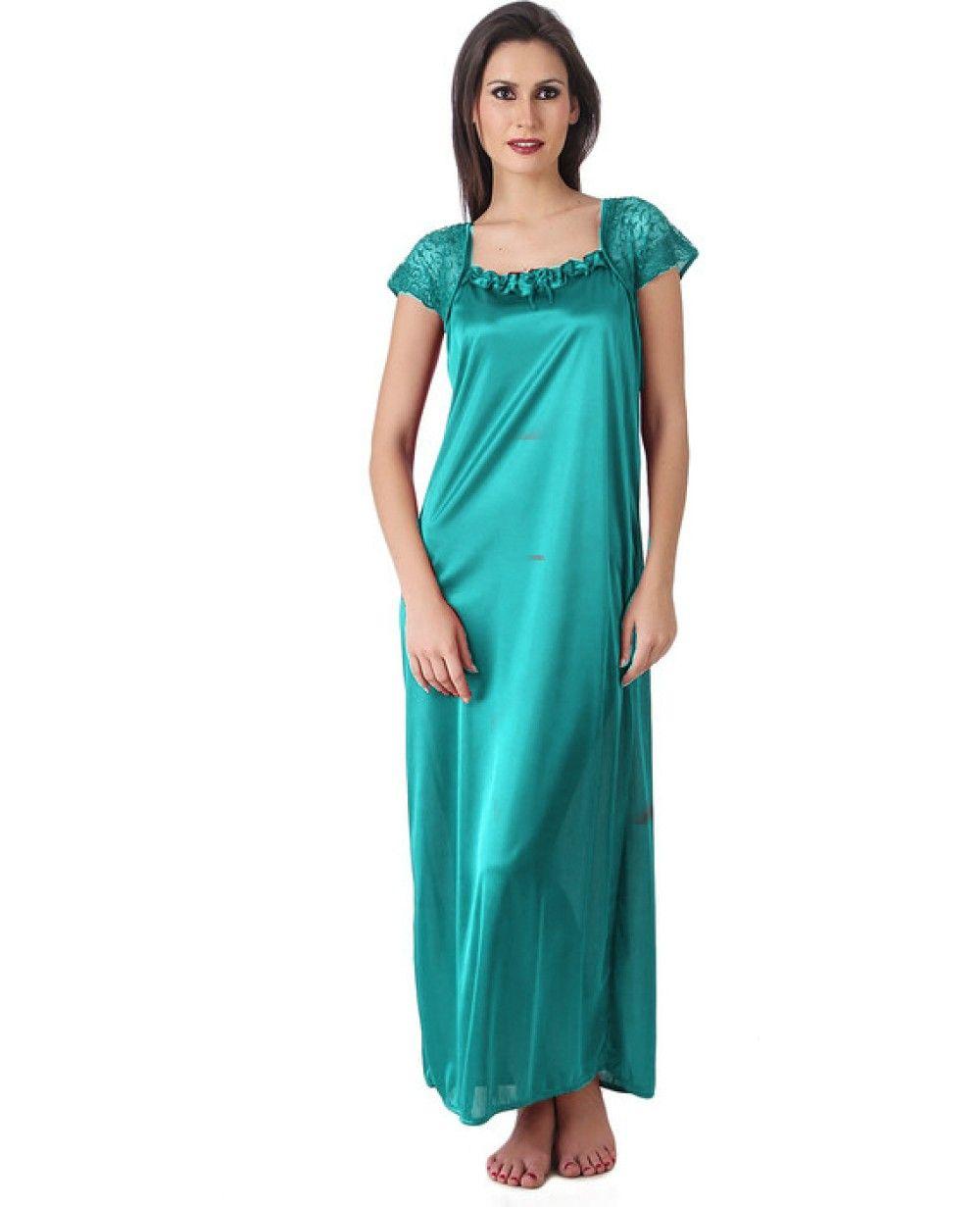 fefc8b20f6 Women Satin Turquoise Color One Piece Nighty