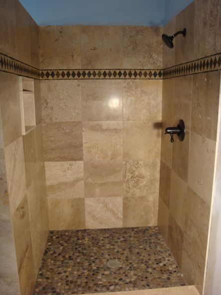 Porcelain Tile Shower like the tile but not the horizontal border