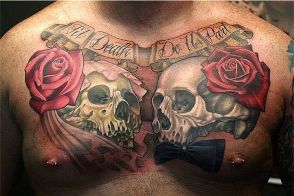 3d Sugar Skull With Roses And Wings Tattoo On Man Chest Tatuagem No Peito Jovens Tatuados Tatuagens Masculinas Peitoral
