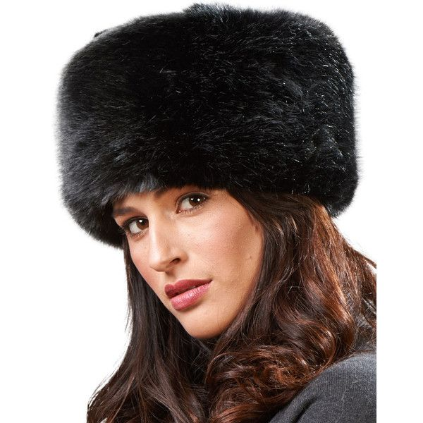 FRR Zhivago Pill Box Faux Fur Hat in Black ( 55) ❤ liked on Polyvore  featuring accessories 43dc67e6127