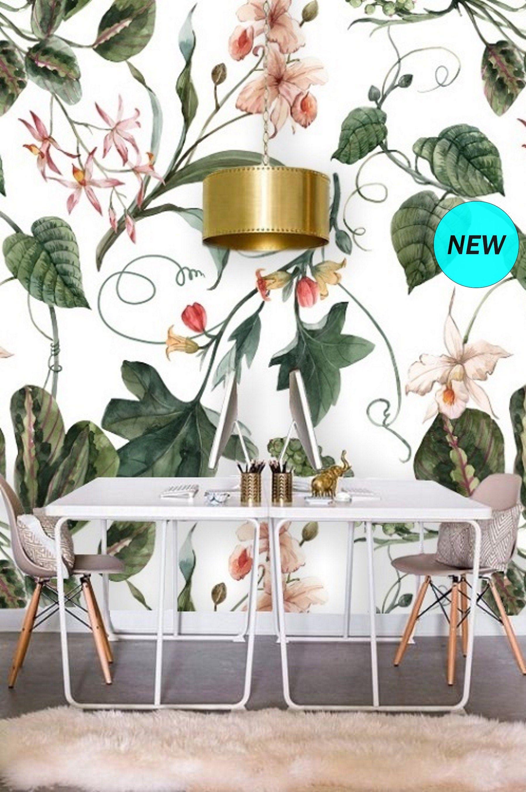Floral Wallpaper Orchid Botanical Wallpaper Mural Removable Wallpaper Plants Self Adhesive Wallpaper Peel Floral Wallpaper Plant Wallpaper Mural Wallpaper