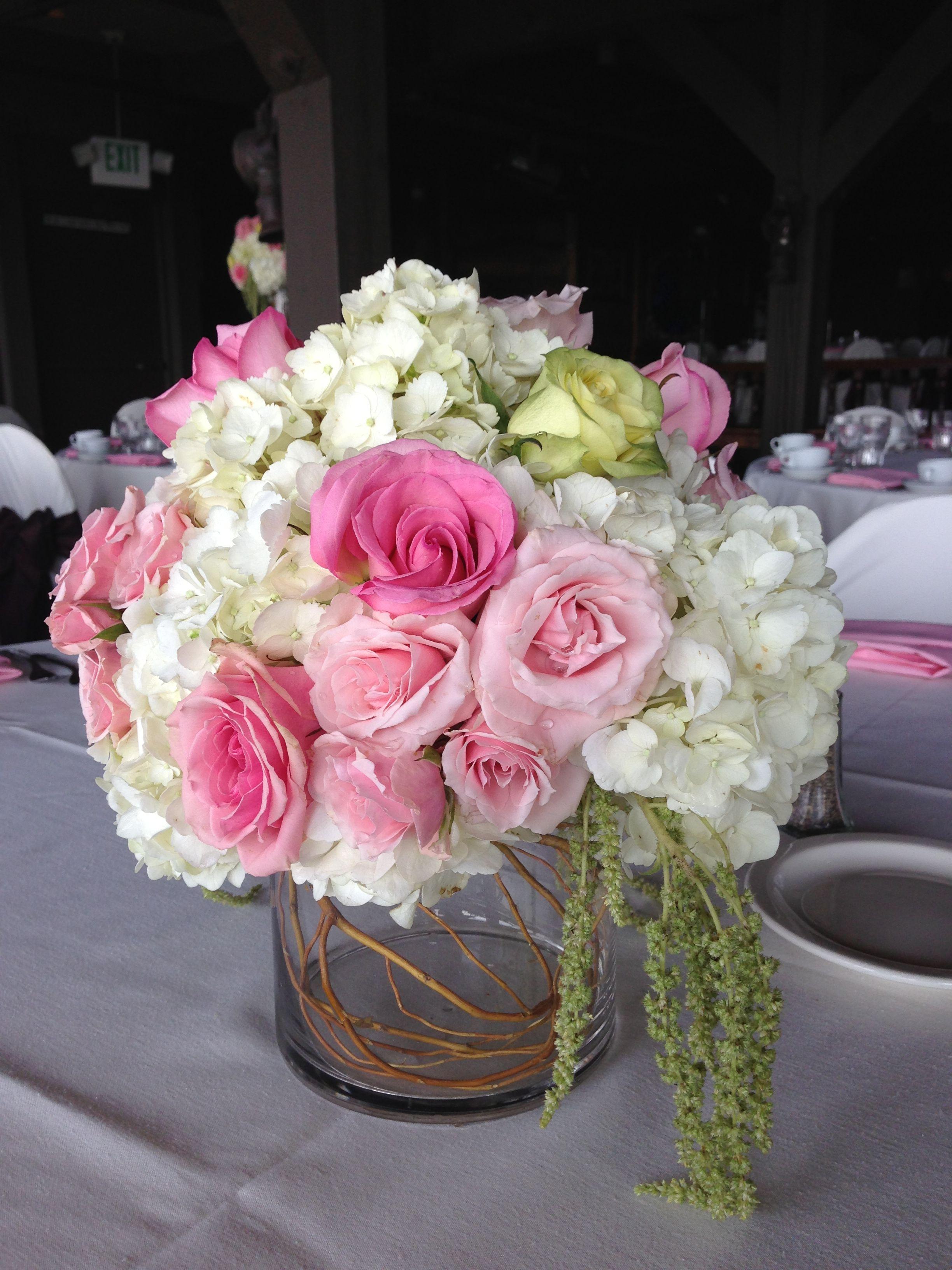 Pink White Low Centerpiece Wedding Centerpiece Ideas