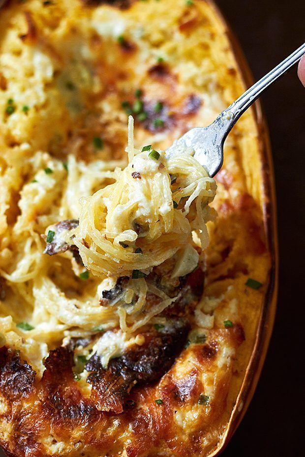 Baked Four Cheese Garlic Spaghetti Squash -