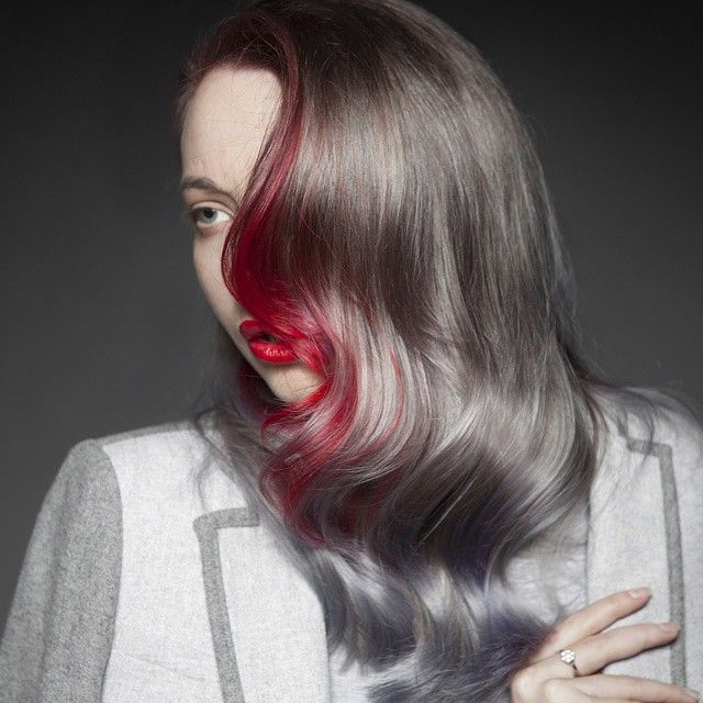 Breathtaking platinum gray with blood red hair color accent. Hair ...