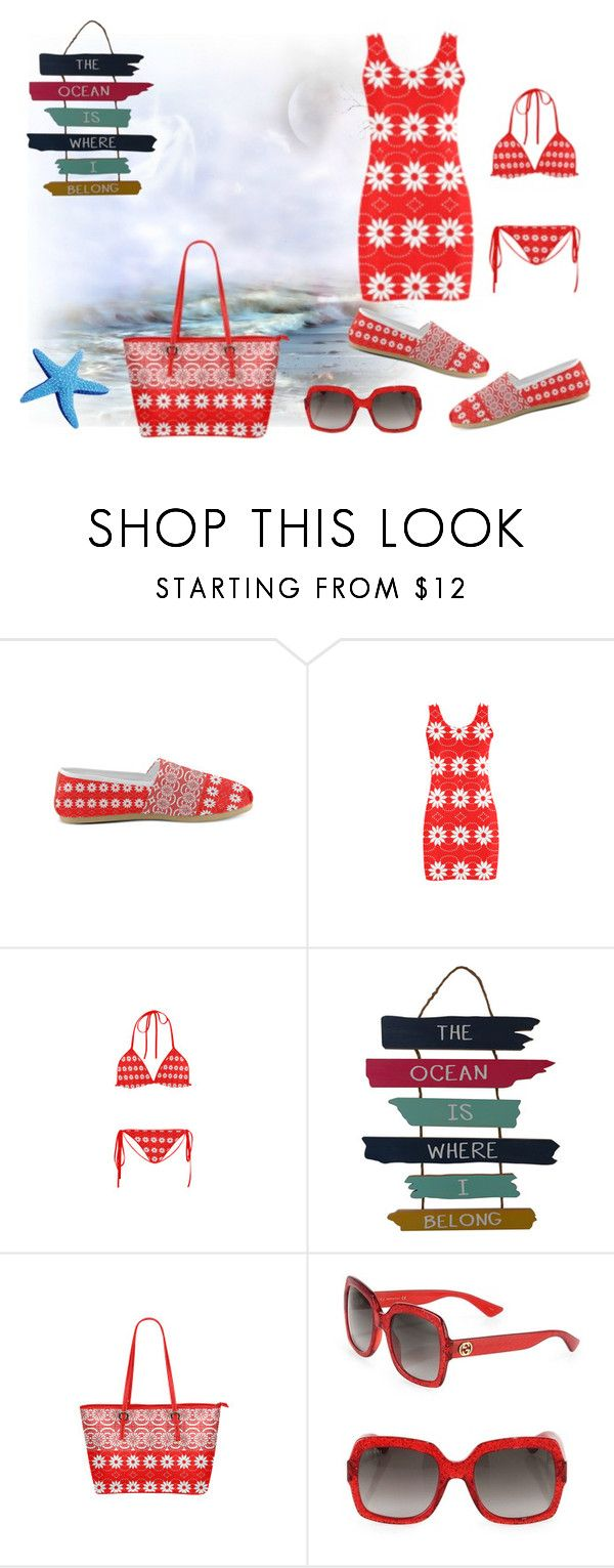 """""""Sunny Beach Days With Anna"""" by sjlew ❤ liked on Polyvore featuring WALL and Gucci"""