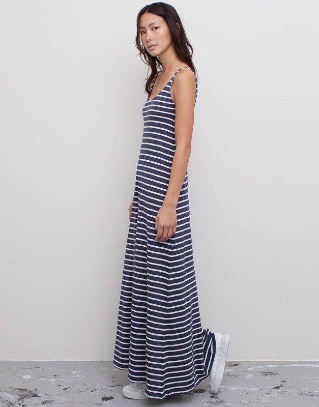 Pull Bear - mujer - vestidos - vestido largo rayas marineras - marino  vigore - 05392352-V2015 5f79cff79cb