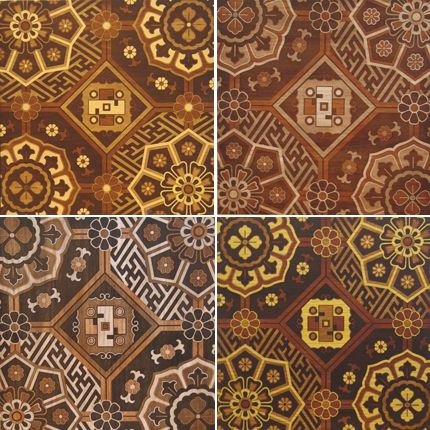 Wood Floor Design With Stain And Stencil Patterns And
