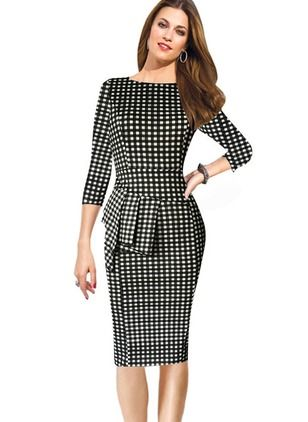 50b2b4138e Algodão Poliéster Tartan Altura do Joelho Elegante Vestidos de. Cotton  Polyester Tartan Knee-Length Elegant Dresses Black Pencil Dress ...