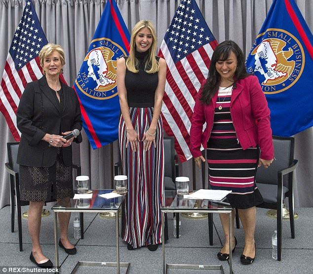 Ivanka spoke alongside U.S. Small Business Administration director Linda McMahon (left) at an SBA conference that was held at the U.S. Institute of Peace on Monday