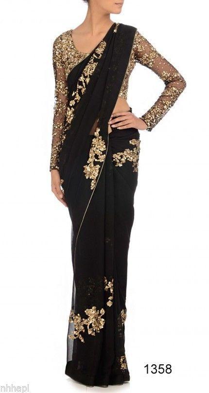 67fddf2da4c168 Bollywood Designer Indian Lace Black Wedding Party Bridal Sari Saree G1358