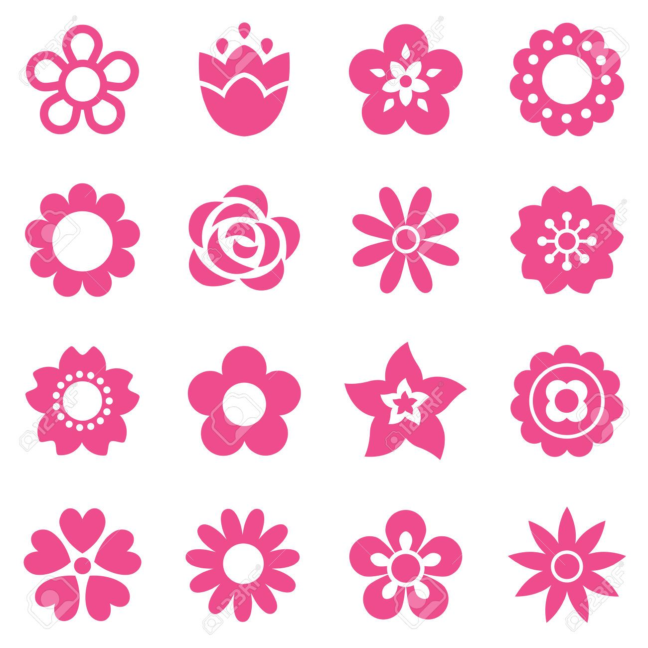 31359785-Set-of-flat-flower-icons-in-silhouette-isolated ...