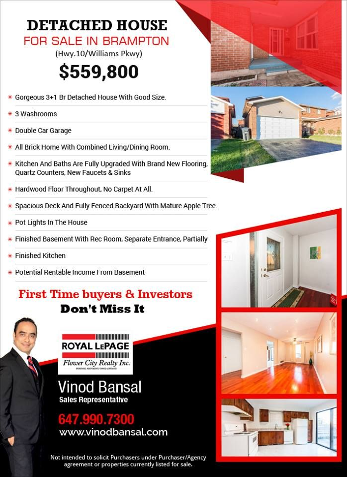 Detachedhouse For Sale In Brampton 559 800 Hwy 10 Williams Pkwy Hurry Up Investors First Time Home Buyers First Time Home Buyers Brampton Mississauga