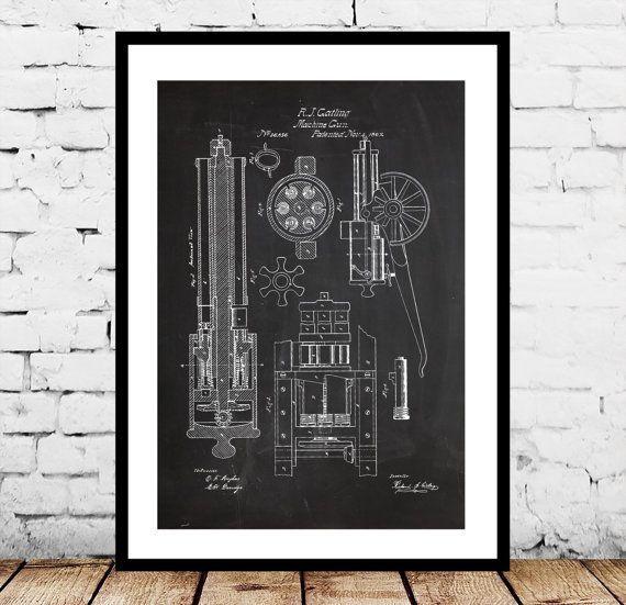 Machine Gun Print, Machine Gun Patent, Machine Gun Art, Machine Gun - new blueprint gun art