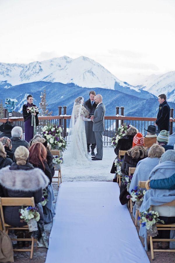 The Little Nell Aspen Mountain Wedding Deck Club Sundeck Outdoor Winter Weddingwinter Ceremonieswinter Idenow