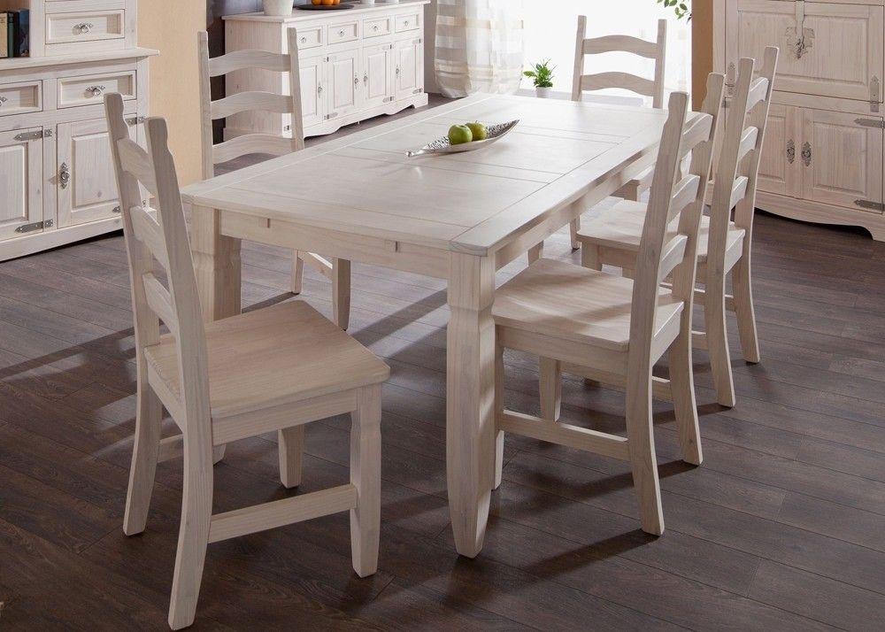 Landhaus Tischgruppe Mexican Henke Möbel Kiefer Massiv Weiß 21200 - massiv kiefer mbel