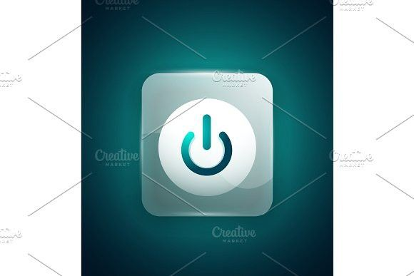 Glass Transparent Effect Power Start Button On Off Icon Vector Ui