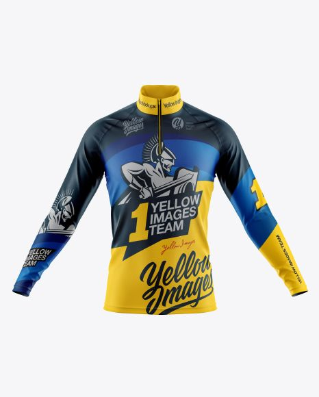 Download Mens Cycling Jersey With Long Sleeve Mockup Front View ...