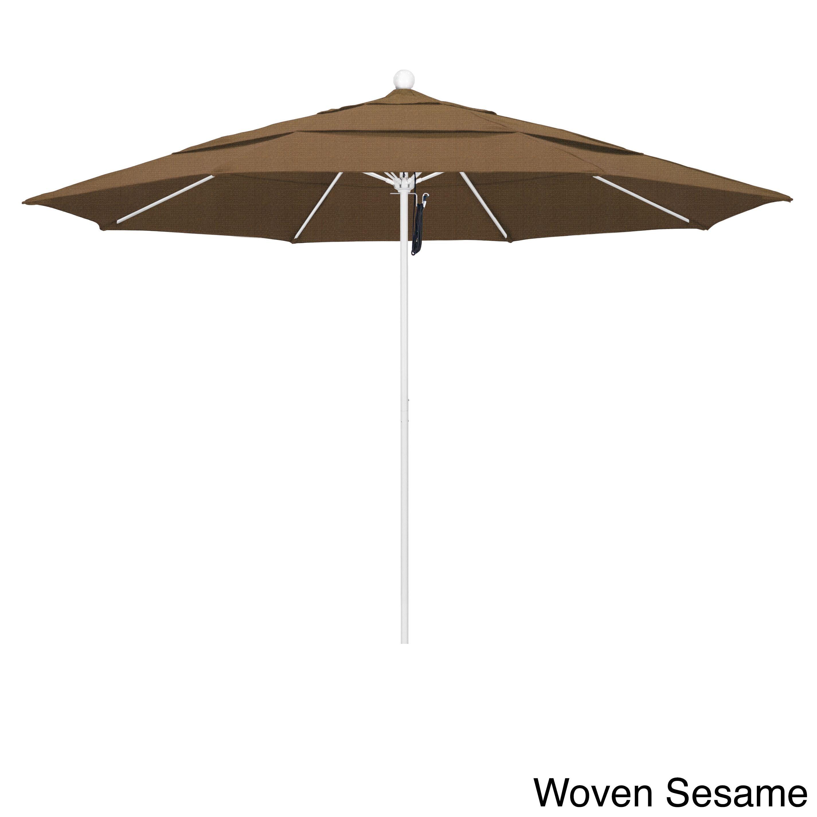 California Umbrella 11' Rd Frame, Fiberglass Rib Market Umbrella, Push Open, Finish, Olefin Fabric